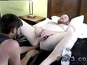 Gay twinks anal fisting Sky Works Brock's Hole with his Fist
