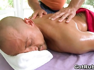 Hot guy get his amazing body massaged